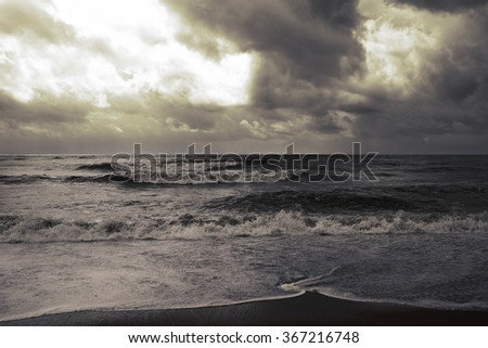 Stormy weather on the seaside - stock photo