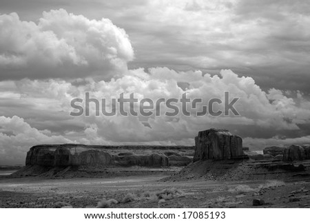 Stormy weather over Monument Valley in black and white