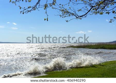 Stormy wind at Lake Balaton, Hungary - stock photo
