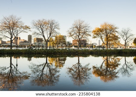 Storrow Lagoon, The Boston Embankment, now commonly referred to as the Charles River Esplanade, - stock photo