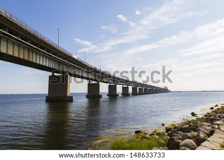 Storstr¸m Bridge road and railway arch bridge in Denmark