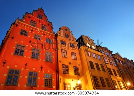 Stortorget square at night. Stockholm, Sweden - stock photo