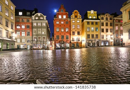 Stortorget square decorated to Christmas time at night, Stockholm, Sweden. - stock photo