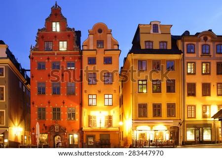 Stortorget square in Gamla stan at night, Stockholm - stock photo
