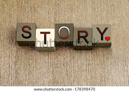 Story Sign, love for creative writing, for writers and authors and education. - stock photo