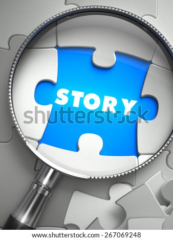 Story through Lens on Missing Puzzle Peace. Selective Focus. 3D Render. - stock photo
