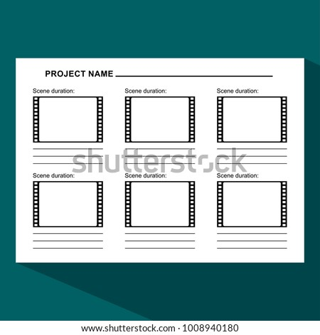 Storyboard Template Form Film Scenario Media Stock Illustration