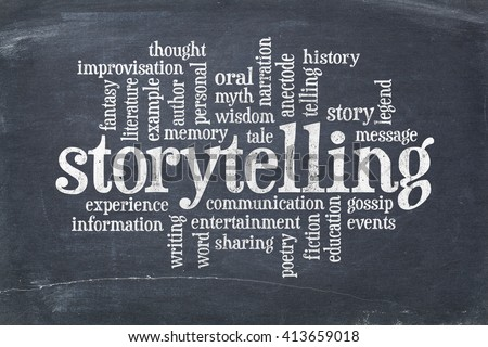 storytelling word cloud on an old slate blackboard with scratches and white chalk smudges - stock photo