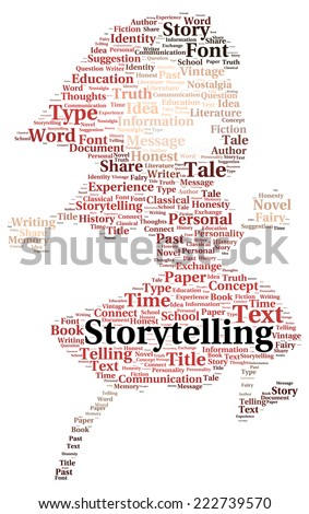 Storytelling word cloud shape concept - stock photo