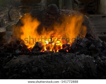 stove  fire - stock photo
