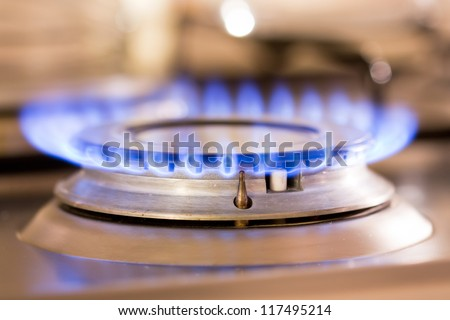 Stove gas fire flame - stock photo