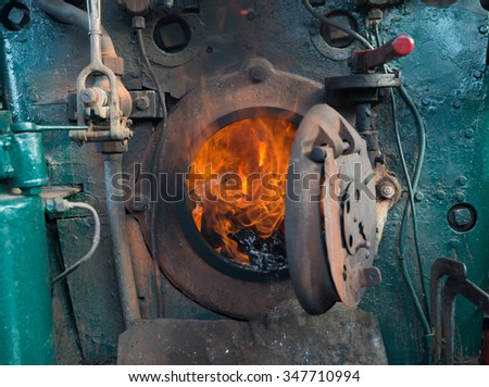 stove of the Steam locomotive - stock photo