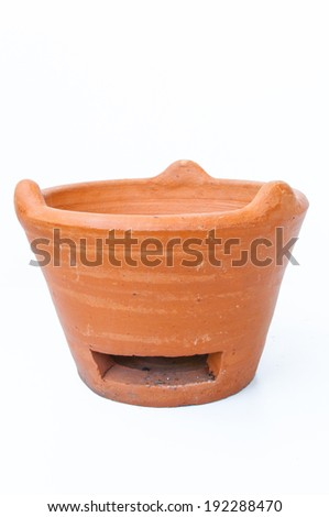 stoves of clay in white background - stock photo