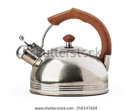 Stovetop whistling kettle isolated on white background with clipping path. - stock photo