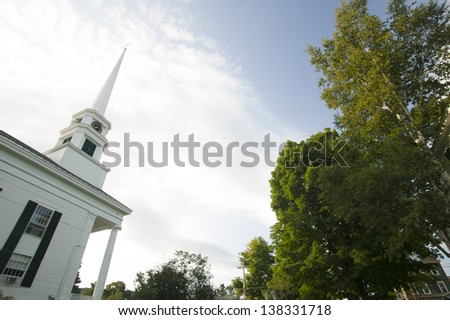 Stowe Community Church in the early fall, Stowe, Vermont, USA