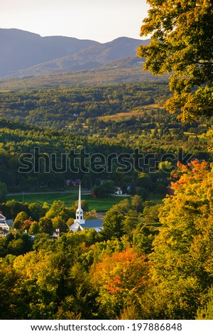 Stowe Community Church in the early fall, Stowe, Vermont, USA - stock photo
