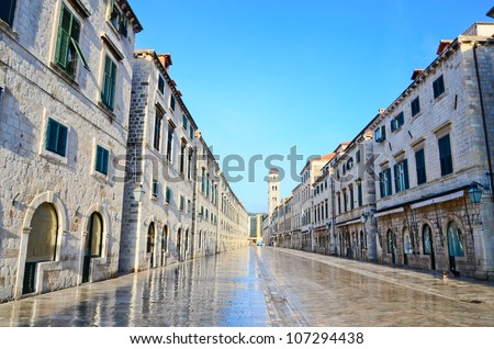 Strada of Dubrovnik. The Strada is the main shopping street and - stock photo