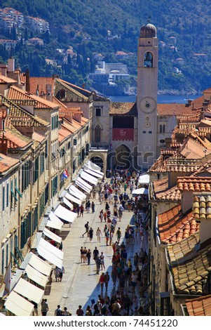 Stradun, main street of Dubrovnik, Croatia - stock photo