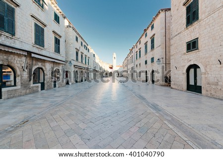 Stradun, popular pedestrian street in Dubrovnik, Croatia - stock photo