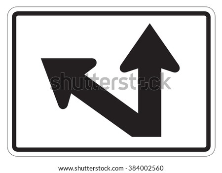 Straight/Diagonal/ Left Auxiliary Sign isolated on a white background - stock photo