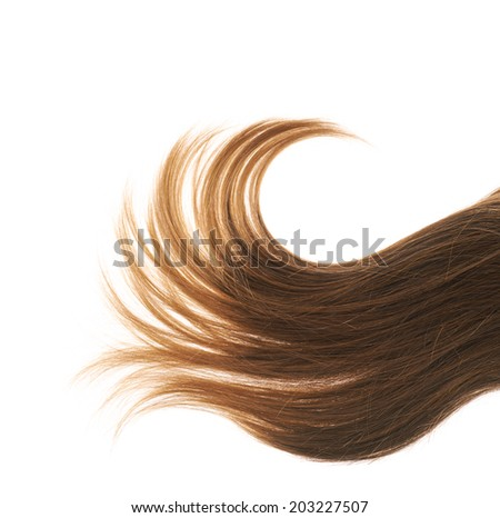 Straight hair fragment placed over the white background as a copyspace backdrop composition