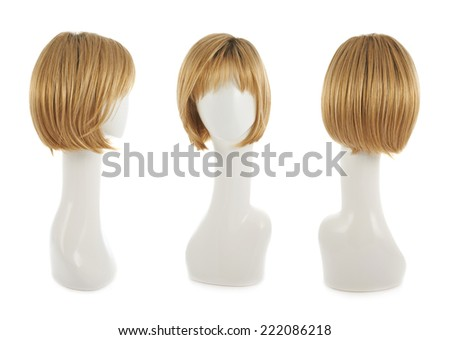 Straight hair wig over the white plastic mannequin head isolated over the white background, set of three foreshortenings - stock photo