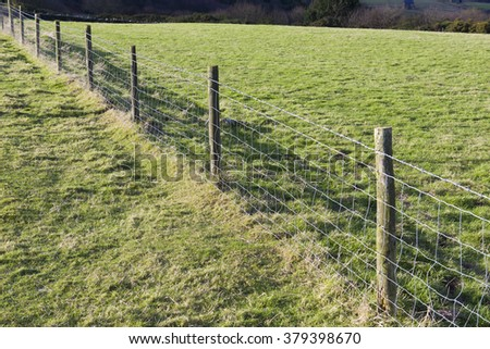 Straight metal wire fence dividing two grassy farm fields in a rural countryside landscape - stock photo