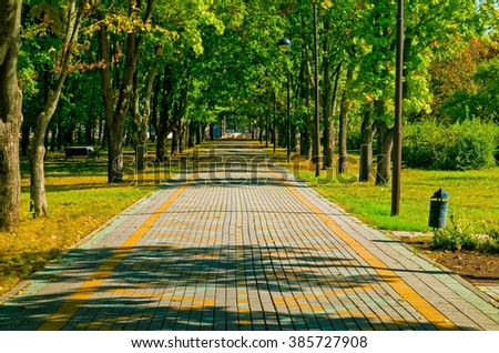 straight path with sense of perspective in a park - stock photo