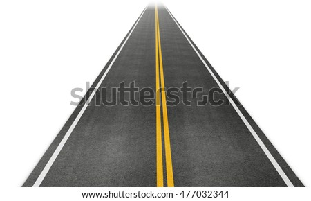 Straight road disappearing into the distance. 3d rendering.