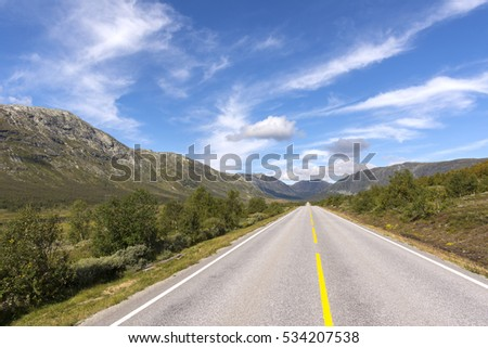 straight road to Oslo in Norway