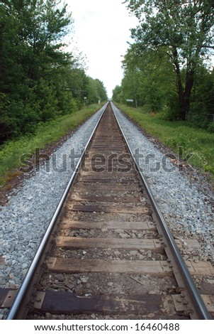 Straight section of railroad track
