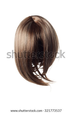 straight short brown wig on a white background