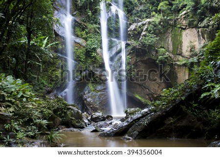 Straight Water from Water Fall in Thailand - stock photo