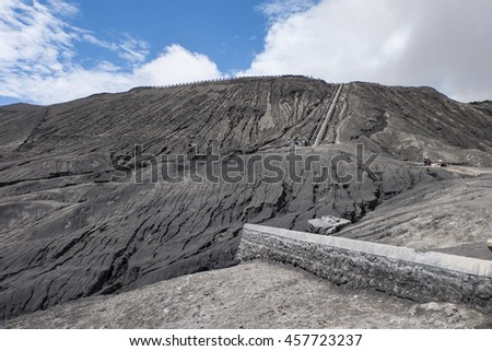 Strairway to Mount Bromo volcanoes in Bromo Tengger Semeru National Park, East Java, Indonesia