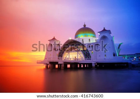 Strait mosque during sunset - stock photo