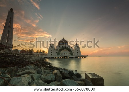 Strait Mosque of Malacca at sunrise