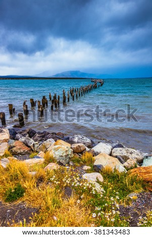 Strait of Magellan summer day. Waterfront, Punta Arenas. From the water stick piles of destroyed pier