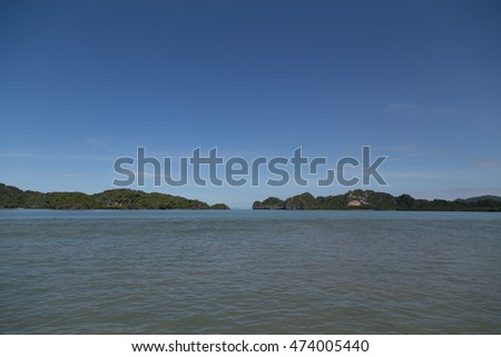 straits between mountain in andaman sea - Thailand