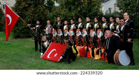 "STRAKONICE, CZECH REPUBLIC - AUGUST 23, 2012: The Turkish bagpipe band ""Anadolu"" parades on the 20th International Bagpipe Festival."