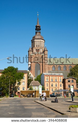 STRALSUND, GERMANY - AUGUST 13, 2015: St. Mary's Church (Marienkirche), Hanseatic city, Mecklenburg Western Pomerania - stock photo
