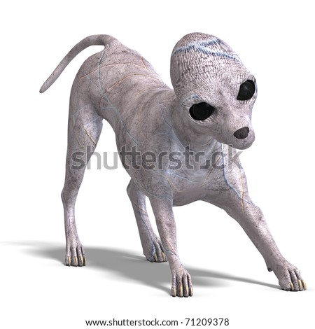 strange alien dog from area 51. 3D rendering with clipping path and shadow over white