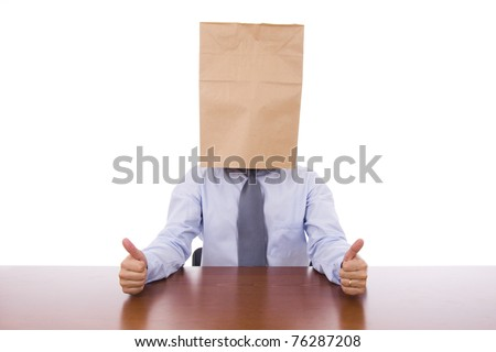 Strange business man with a cardboard bag on the head showing thumbs up