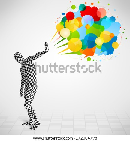 Strange funny guy in morphsuit looking at colorful speech bubbles - stock photo