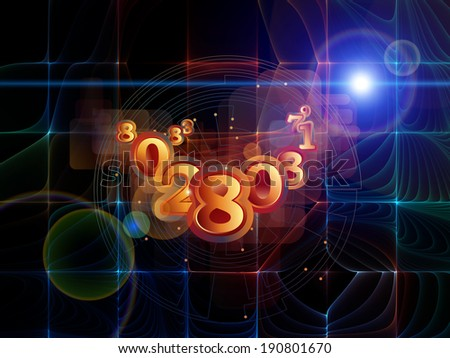Strange Geometry series. Abstract composition of line drawing, math and geometry related elements suitable as element in projects related to mathematics, science, education and  technology - stock photo
