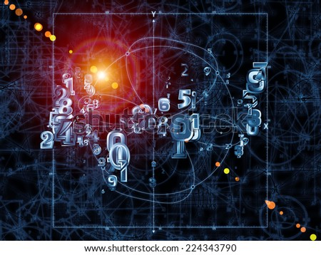 Strange Geometry series. Composition of line drawing, math and geometry related elements suitable as a backdrop for the projects on mathematics, science, education and  technology - stock photo