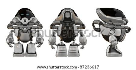 Strange glossy cyborg with tubes - stock photo