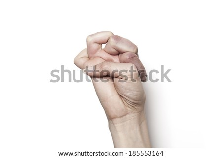 Strange hand with intertwine fingers