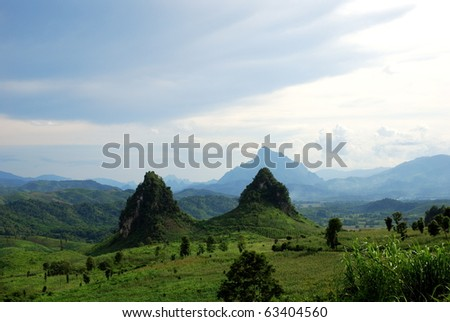 strange  mountains in laos - stock photo