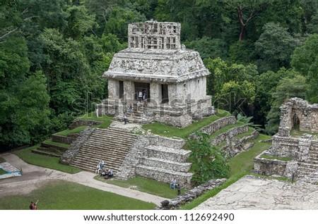 Strange pyramid in Palenque, Mexico - stock photo