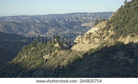 Strange rock formations on highway 33 on way to Ojai, California - stock photo